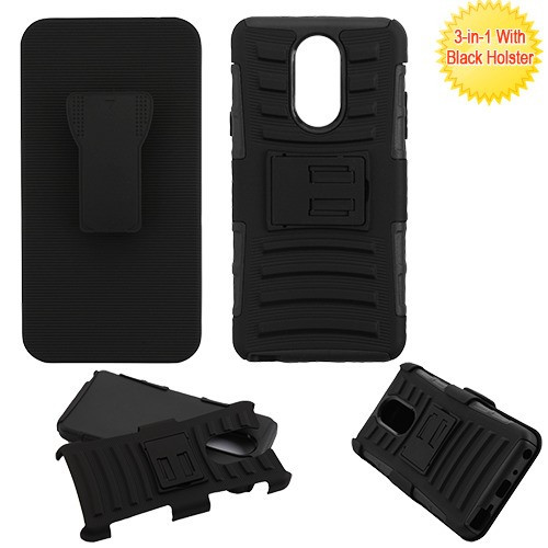 Asmyna Advanced Armor Stand Protector Cover Combo (with Black Holster) for Lg Stylo 4 - Black / Black