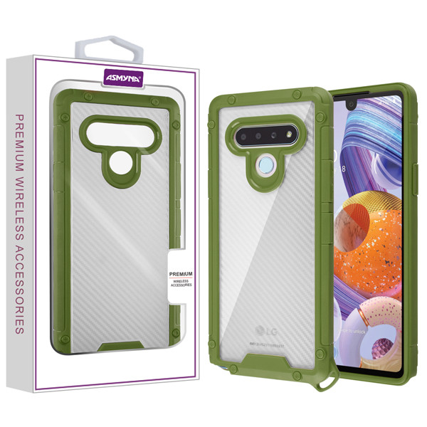 Asmyna Hybrid Case for Lg Stylo 6 - Transparent Clear Carbon Fiber Texture / Green