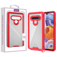 Asmyna Hybrid Case for Lg Stylo 6 - Transparent Clear Carbon Fiber Texture / Red