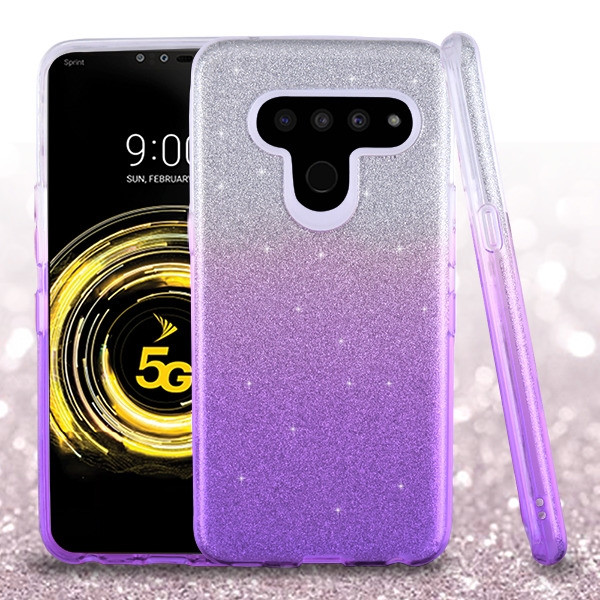 Asmyna Gradient Glitter Hybrid Protector Cover for Lg V50 ThinQ - Purple