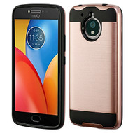Asmyna Brushed Hybrid Protector Cover for Motorola XT1773 (Moto E4 Plus) - Rose Gold / Black