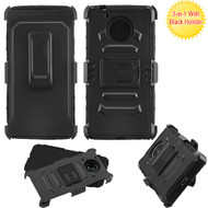 Asmyna Advanced Armor Stand Protector Cover Combo (with Black Holster) for Motorola XT1773 (Moto E4 Plus) - Black / Black