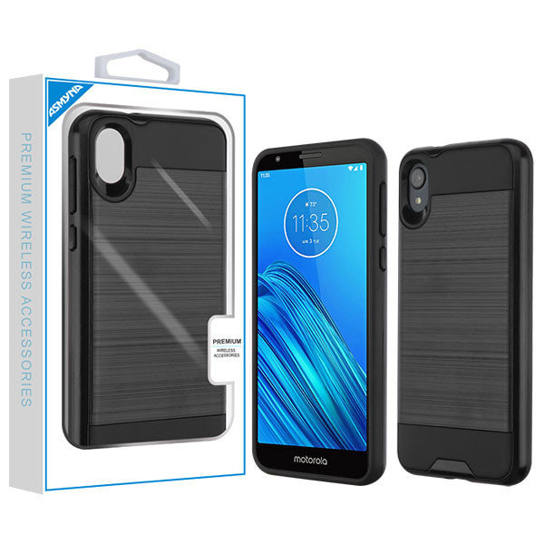 Asmyna Brushed Hybrid Protector Cover for Motorola Moto E6 - Black / Black