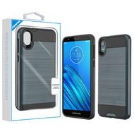 Asmyna Brushed Hybrid Protector Cover for Motorola Moto E6 - Ink Blue / Black