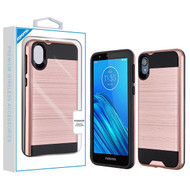 Asmyna Brushed Hybrid Protector Cover for Motorola Moto E6 - Rose Gold / Black
