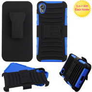 Asmyna Advanced Armor Stand Protector Cover Combo (with Black Holster) for Motorola Moto E6 - Black / Dark Blue