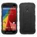 Asmyna Car Armor Stand Protector Cover (Rubberized) for Motorola XT1064 (Moto G 2nd Gen) - Black / Black