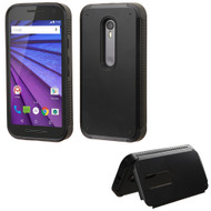 Asmyna Advanced Armor Stand Protector Cover for Motorola Moto G (3rd gen.) - Black Inverse