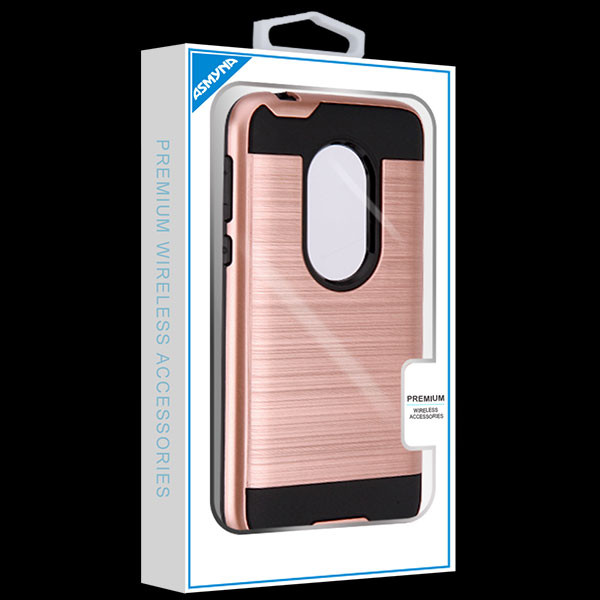 Asmyna Brushed Hybrid Protector Cover for Motorola Moto G7 Play - Rose Gold / Black