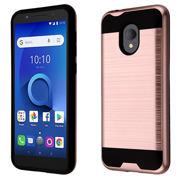 Asmyna Brushed Hybrid Protector Cover for Alcatel 1X Evolve - Rose Gold / Black