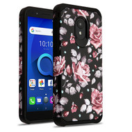 Asmyna Astronoot Protector Cover for Alcatel 1X Evolve - Pinky White Rose / Black
