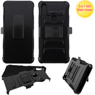 Asmyna Advanced Armor Stand Protector Cover Combo (with Black Holster) for Alcatel 5032w (3v 2019) - Black / Black