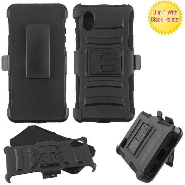Asmyna Advanced Armor Stand Protector Case Combo (with Black Holster) for Alcatel APPRISE/Bonus - Black / Black