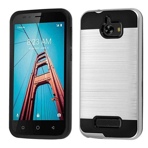 Asmyna Brushed Hybrid Protector Cover for Coolpad 3632 (Defiant) - Silver / Black