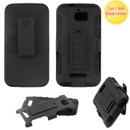 Asmyna Advanced Armor Stand Protector Cover Combo (with Black Holster) for Coolpad 3632 (Defiant) - Black / Black