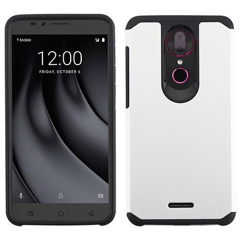 Asmyna Astronoot Protector Cover for Coolpad C3701A (Revvl Plus) - Silver / Black