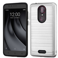 Asmyna Brushed Hybrid Protector Cover (with Carbon Fiber Accent) for Coolpad C3701A (Revvl Plus) - Silver / Black