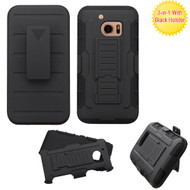 Asmyna Advanced Armor Stand Protector Cover (with Black Holster) for Htc 10 - Black / Black