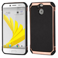 Asmyna Astronoot Protector Cover for Htc BOLT - Black Lychee Grain(Rose Gold Plating) / Black