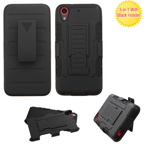 Asmyna Advanced Armor Stand Protector Cover (with Black Holster) for Htc Desire 626 - Black / Black