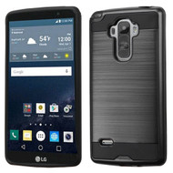 Asmyna Brushed Hybrid Protector Cover for Lg LS770 (G Stylo) - Black / Black