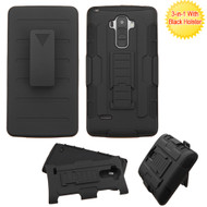 Asmyna Advanced Armor Stand Protector Cover (with Black Holster) for Lg LS770 (G Stylo) - Black / Black