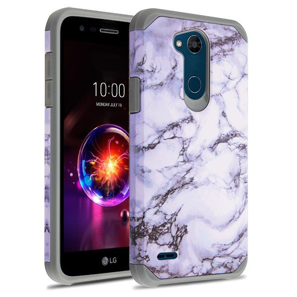 Asmyna Astronoot Protector Cover for Lg X Power 3 - White Marbling / Iron Grey