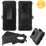 Asmyna Advanced Armor Stand Protector Cover Combo (with Black Holster) for Nokia C5 Endi - Black / Black