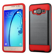 Asmyna Brushed Hybrid Protector Cover for Samsung G550 (On5) - Black / Red