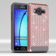 Asmyna Diamante FullStar Protector Cover for Samsung G550 (On5) - Rose Gold / Iron Gray
