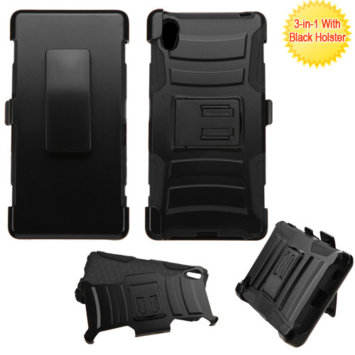 Asmyna Advanced Armor Stand Protector Cover Combo (with Black Holster) for Sony ericsson Xperia Z5 - Black / Black