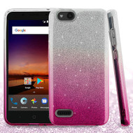 Asmyna Gradient Glitter Hybrid Protector Cover for Zte Fanfare 3 - Pink