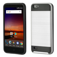 Asmyna Brushed Hybrid Protector Cover for Zte N9137 (Tempo X) - Silver / Black