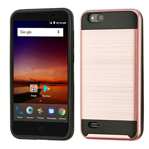 Asmyna Brushed Hybrid Protector Cover for Zte N9137 (Tempo X) - Rose Gold / Black