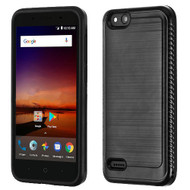 Asmyna Brushed Hybrid Protector Cover (with Carbon Fiber Accent) for Zte N9137 (Tempo X) - Black / Black