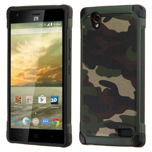 Asmyna Astronoot Protector Cover for Zte N9518 (Warp Elite) - Camouflage Green Backing / Black