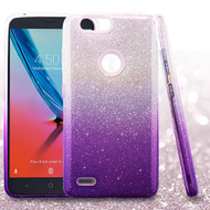Asmyna Gradient Glitter Hybrid Protector Cover for Zte Sequoia - Purple