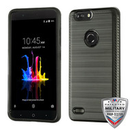 Asmyna Brushed Hybrid Protector Cover (with Carbon Fiber Accent) for Zte Sequoia - Black / Black