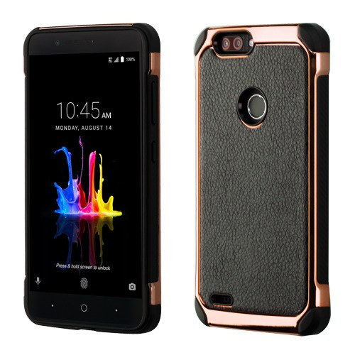 Asmyna Astronoot Protector Cover for Zte Sequoia - Black Lychee Grain(Rose Gold Plating) / Black