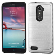 Asmyna Brushed Hybrid Protector Cover (with Carbon Fiber Accent) for Zte Z981 (Zmax Pro) - Silver / Black