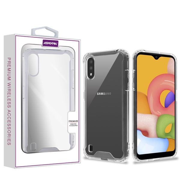 Asmyna Sturdy Gummy Cover for Samsung Galaxy A01 - Highly Transparent Clear / Transparent Clear