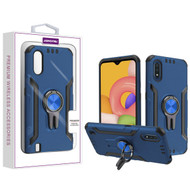 Asmyna Hybrid Protector Cover (with Ring Stand) for Samsung Galaxy A01 - Ink Blue / Black