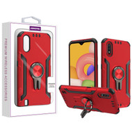 Asmyna Hybrid Protector Cover (with Ring Stand) for Samsung Galaxy A01 - Red / Black