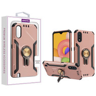 Asmyna Hybrid Protector Cover (with Ring Stand) for Samsung Galaxy A01 - Rose Gold / Black