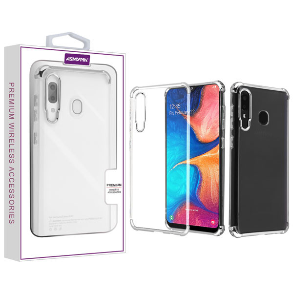 Asmyna Klarion Candy Skin Cover for Samsung Galaxy A20 - Electroplating Silver / Transparent Clear
