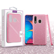 Asmyna Full Glitter Hybrid Protector Cover for Samsung Galaxy A20 - Pink