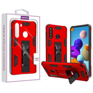 Asmyna Hybrid Case (with Stand) for Samsung Galaxy A21 - Red / Black