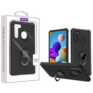 Asmyna Rubberized Hybrid Case (with Ring Stand) for Samsung Galaxy A21 - Black / Black