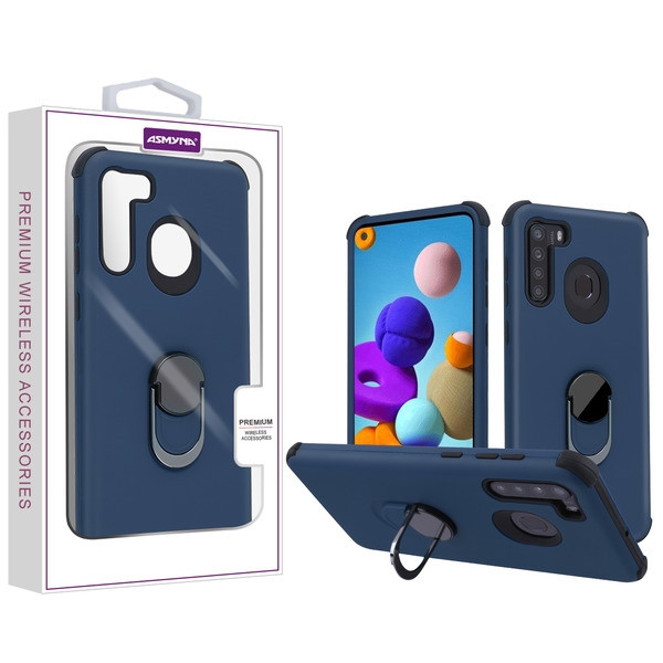 Asmyna Rubberized Hybrid Case (with Ring Stand) for Samsung Galaxy A21 - Ink Blue / Black