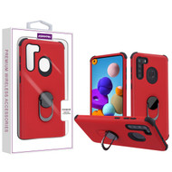 Asmyna Rubberized Hybrid Case (with Ring Stand) for Samsung Galaxy A21 - Red / Black